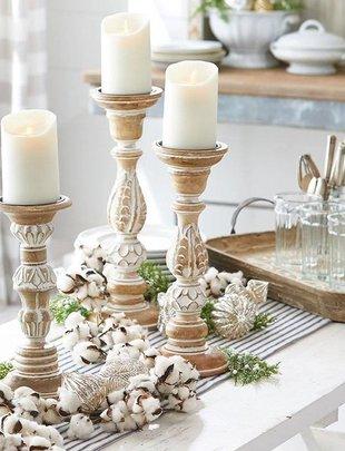 Set of 3 Carved Candlesticks