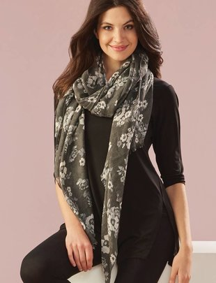 Gray Floral Scarf