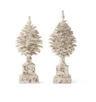 Set of 2 Distressed Pinecone Finials