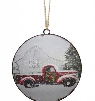 Vintage Metal Truck Disk Ornament
