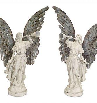 Set of 2 Vintage Trumpeting Angels