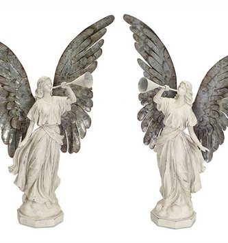 Set of 2 Vintage Trumpeting Angels