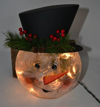 "12"" Electric Lighted Snowman Head"