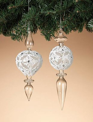 "9"" Glass Finial Ornament (2 Styles)"