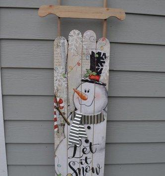 """47"""" Wooden Snowman Sleigh Sign"""