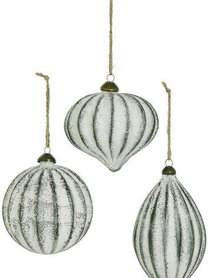 Whitewashed Ribbed Ornament (3 Styles)