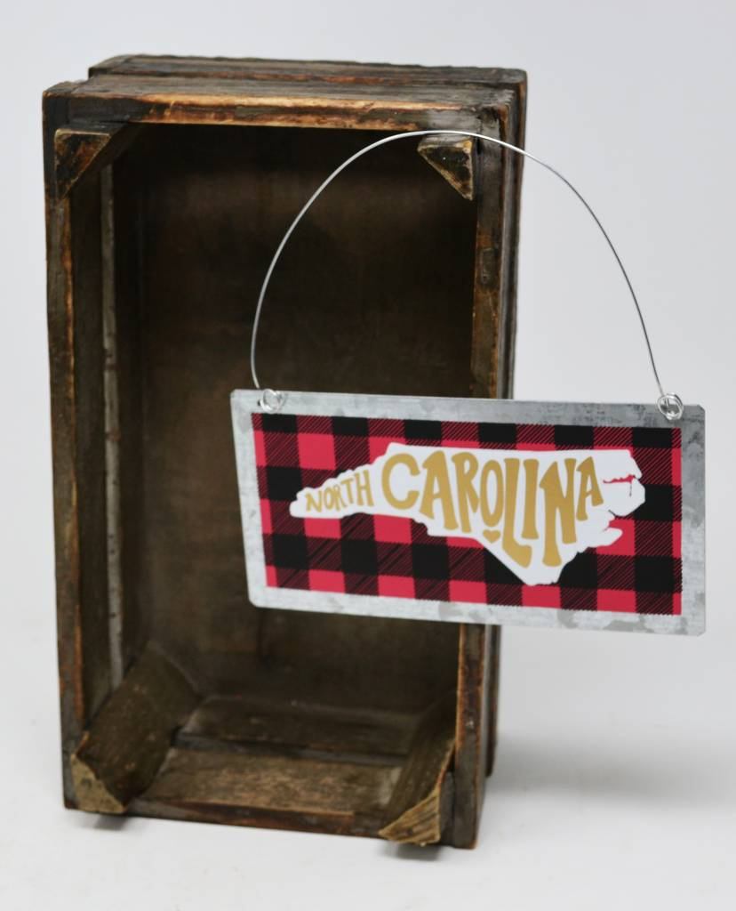 North Carolina Plaid Tin Ornament