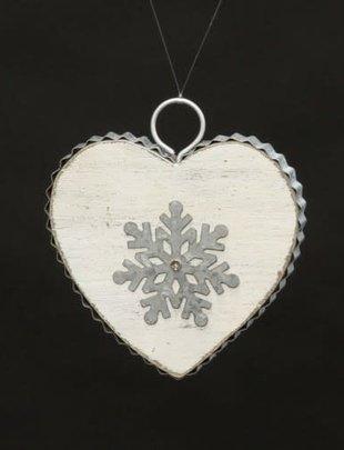 Distressed Heart Snowflake Ornament