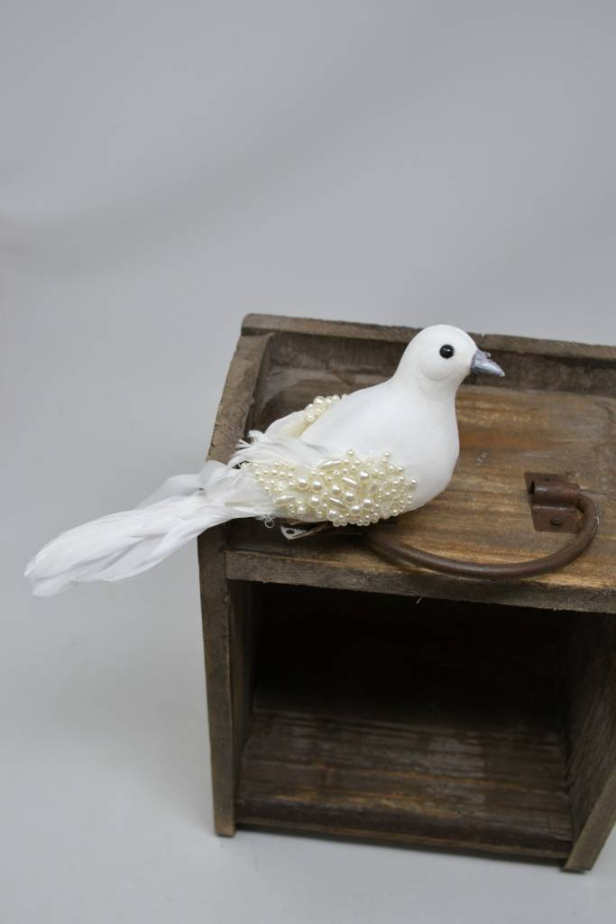 """7"""" Winter Pearl Bird w/ Clip"""