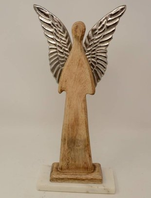 Contemporary Angel on Base w/ Silver Wings