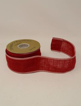 Red Plaid Edges Burlap Ribbon 10 Yds