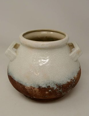 Two-Tone Crackle Pottery Container (2 Sizes)