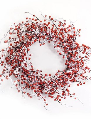 Flocked Red Berry Wreath
