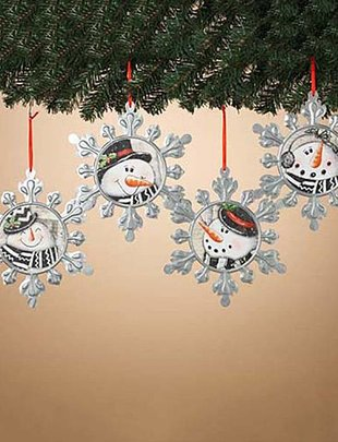 Metal Snowman Snowflake Ornament (4 Styles)