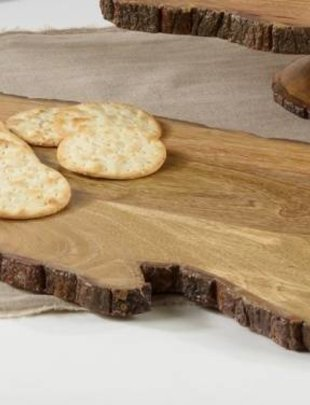 Natural Wooden Tray w/ Metal Handles