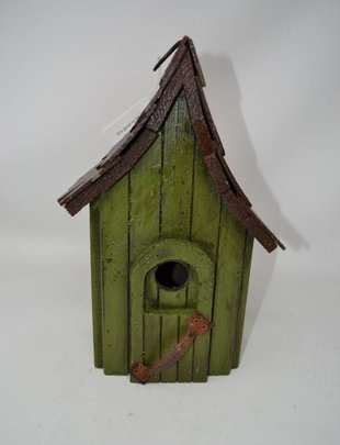 Vintage Green Wooden Birdhouse