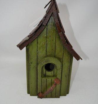 Vintage Green Wooden Birdhouse