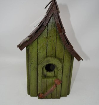 Vintage Green Wooden Bird House