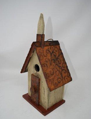 Distressed Wooden Chapel Birdhouse