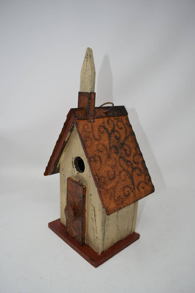 Distressed Wooden Chapel Birdhouse