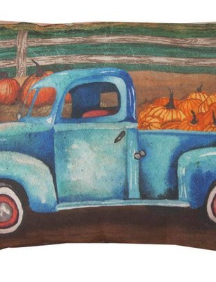 Vintage Blue Truck Pumpkin Pillow