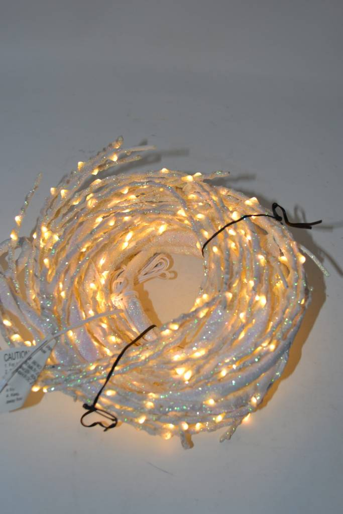 10-ft LED White Snow Branch Garland