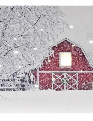 LED Tabletop Winter Barn Canvas