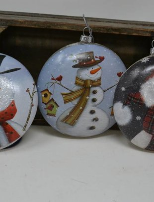 Lightable Snowman Disk Ornament (3 Styles)