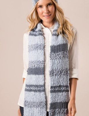 Knubby Stripe Scarf w/ Buttons (6 Colors)