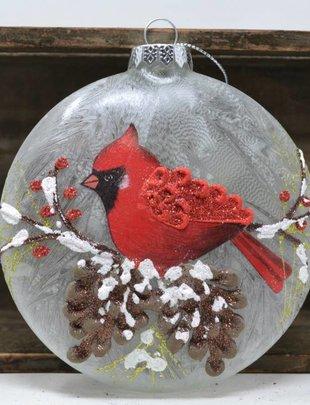 Glass Cardinal Pine Disk Ornament