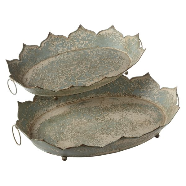Metal Oval Distressed Tray