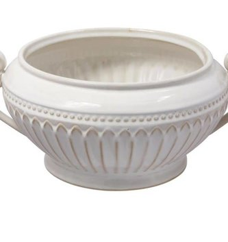Cream Handled Fluted Bowl