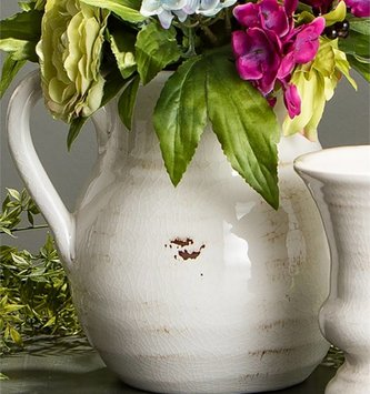 Round White Crackle Pitcher
