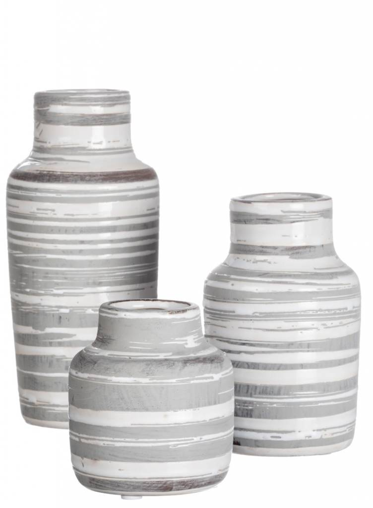 Gray & White Striped Bottle