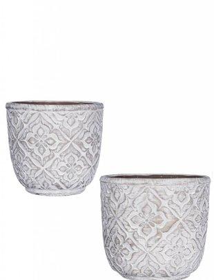 Graywashed Patterned Pot (2 Sizes)