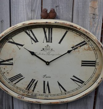 Rustic Bird Oval Clock