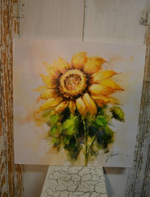 Large Painted Sunflower Canvas