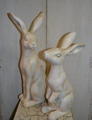 Set of 2 White Garden Bunnies
