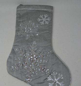 Embroidered Silver Snowflake Stocking