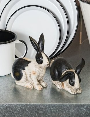 Set of 2 Black & White Bunnies