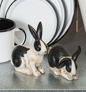 Set of 2 Black & White Bunnies