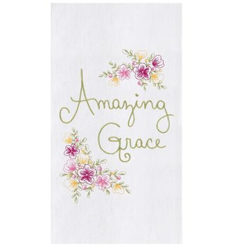 Amazing Grace Embroidered Kitchen Towel