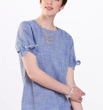 Blue Woven Bell Sleeve Blouse