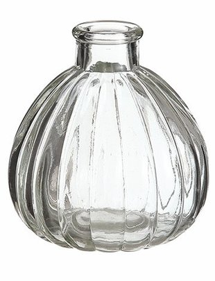 Round Ribbed Glass Bottle