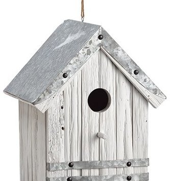 Whitewashed Galvanized Birdhouse