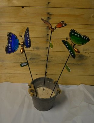 "22"" Glass Butterfly Stake (3 Colors)"