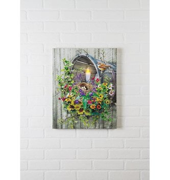 Lighted Bushel Basket Canvas