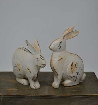 Set of 2 Small Antiqued Bunnies