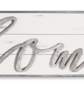 Whitewashed Horizontal Home Wall Plaque