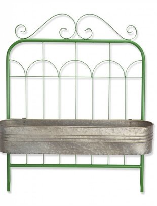 Green Metal Gate with Planter